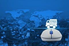 Ασύρματο ποντίκι υπολογιστών με το ελεύθερο εικονίδιο φορτηγών παράδοσης πέρα από το χάρτη α Στοκ εικόνα με δικαίωμα ελεύθερης χρήσης