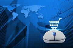 Ασύρματο ποντίκι υπολογιστών με το σε απευθείας σύνδεση εικονίδιο αγορών άνω του χάρτη και του γ Στοκ Εικόνα