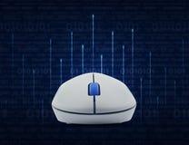 Ασύρματο ποντίκι υπολογιστών πέρα από τη γραμμή φωτισμού με το δυαδικό υπολογιστών Στοκ Εικόνα