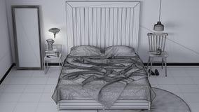 Ατελές σχέδιο προγράμματος, σύγχρονη κρεβατοκάμαρα, κρεβάτι με ξύλινο headboard, Σκανδιναβικό άσπρο κομψό εσωτερικό σχέδιο eco απεικόνιση αποθεμάτων