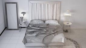 Ατελές σχέδιο προγράμματος, σύγχρονη κρεβατοκάμαρα, κρεβάτι με ξύλινο headboard, Σκανδιναβικό άσπρο κομψό εσωτερικό σχέδιο eco ελεύθερη απεικόνιση δικαιώματος