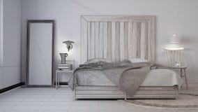 Ατελές σχέδιο προγράμματος, σύγχρονη κρεβατοκάμαρα, κρεβάτι με ξύλινο headboard, Σκανδιναβικό άσπρο κομψό εσωτερικό eco ελεύθερη απεικόνιση δικαιώματος