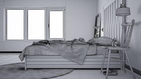 Ατελές σχέδιο προγράμματος, σύγχρονη κρεβατοκάμαρα, κρεβάτι με ξύλινο headboard, Σκανδιναβικό άσπρο κομψό εσωτερικό eco διανυσματική απεικόνιση