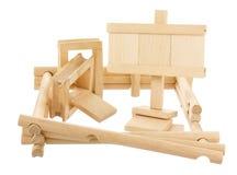 Ατελής ξύλινη κατασκευή με την κενή ταμπλέτα Στοκ εικόνες με δικαίωμα ελεύθερης χρήσης