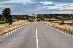 Ατελείωτη εθνική οδός σε Καστίλλη-Leon, Ισπανία Στοκ Εικόνες