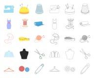 Ατελιέ και ράβοντας κινούμενα σχέδια, εικονίδια περιλήψεων στην καθορισμένη συλλογή για το σχέδιο Εξοπλισμός και εργαλεία για το  ελεύθερη απεικόνιση δικαιώματος