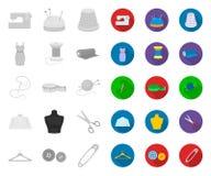 Ατελιέ και ράβοντας μονο, επίπεδα εικονίδια στην καθορισμένη συλλογή για το σχέδιο Εξοπλισμός και εργαλεία για Ιστό αποθεμάτων συ απεικόνιση αποθεμάτων