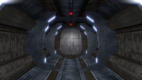 Ατελείωτος διάδρομος με το εσωτερικό sci-Fi ελεύθερη απεικόνιση δικαιώματος