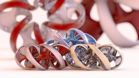 Ατελείωτο στριμμένο κόσμημα δακτυλίων - τρισδιάστατη απεικόνιση Στοκ Εικόνες