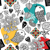 Ατελείωτο σχέδιο με τα πουλιά doodle και τα αφηρημένα στοιχεία Στοκ Φωτογραφίες