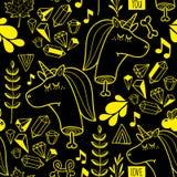 Ατελείωτο υπόβαθρο με το χαριτωμένο και νεκρό μονόκερο σε δύο χρώματα Στοκ Εικόνα