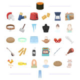 Ατελιέ, εμφάνιση, hairdo και άλλο εικονίδιο Ιστού στο ύφος κινούμενων σχεδίων εργαλείο, τρόφιμα, εξοπλισμός, εικονίδια ταξιδιού σ απεικόνιση αποθεμάτων