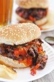 Ατημέλητο σάντουιτς μεταξοσκωλήκων Burger στα κουλούρια στοκ φωτογραφίες με δικαίωμα ελεύθερης χρήσης