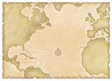 ατλαντικός χάρτης παλαιός Στοκ εικόνες με δικαίωμα ελεύθερης χρήσης