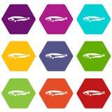 Ατλαντικό σκουμπρί, καθορισμένο χρώμα εικονιδίων scombrus Scomber hexahedron διανυσματική απεικόνιση