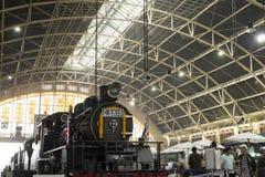 Ατμομηχανή ατμού που επιδεικνύεται για το σιδηροδρομικό σταθμό της Μπανγκόκ, 100η επέτειος του σταθμού της Hua Lamphong Στοκ Φωτογραφίες