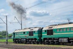 Ατμομηχανή diesel στο σταθμό στοκ εικόνα