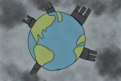 Ατμοσφαιρική ρύπανση, παγκόσμια αύξηση της θερμοκρασίας λόγω του φαινομένου του θερμοκηπίου και έννοια περιβαλλοντικών προβλημάτω Στοκ Φωτογραφία