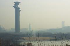 Ατμοσφαιρική ρύπανση Beijingï ¼ ŒChina Στοκ Εικόνες