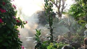 Ατμός ομίχλης με τον καταρράκτη στον κήπο απόθεμα βίντεο