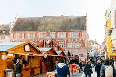Ατμόσφαιρα αγοράς Χριστουγέννων στη Γαλλία Στοκ Εικόνα