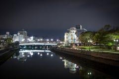 Ατομικός θόλος της Χιροσίμα, τη νύχτα Στοκ Εικόνες