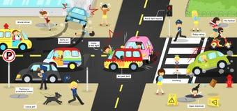 Ατυχήματα Infographic, τραυματισμοί, προσοχή κινδύνου και ασφάλειας ελεύθερη απεικόνιση δικαιώματος
