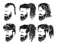 Ατόμων hairstyles και hirecut με τη γενειάδα mustache διανυσματική απεικόνιση