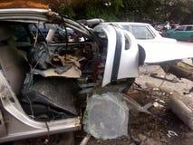 Ατύχημα αυτοκινήτων στον τάφο νεκροταφείων Στοκ φωτογραφία με δικαίωμα ελεύθερης χρήσης