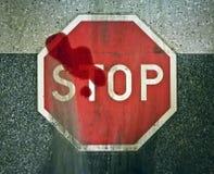Ατύχημα μηχανοκίνητων οχημάτων, σημάδια ολισθήσεων, αίμα, ζημία, θάνατος, υψηλή ταχύτητα, σημάδι στάσεων Στοκ Εικόνες