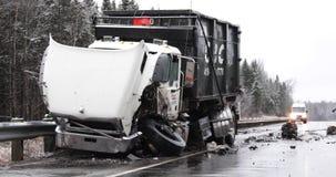 Ατύχημα φορτηγών απόθεμα βίντεο