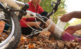 Ατύχημα Biking στοκ εικόνες