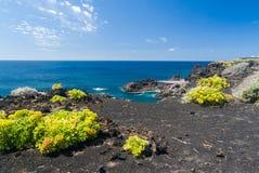 Ατλαντική ηφαιστειακή μαύρη ακτή στοκ εικόνες