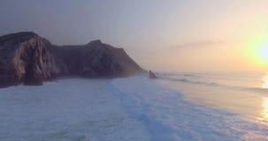 ατλαντικός όμορφος ωκεανός Κανάριων νησιών πέρα από το ηλιοβασίλεμα απόθεμα βίντεο