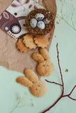 Αυγά και μπισκότα ορτυκιών Πάσχας Στοκ Φωτογραφία