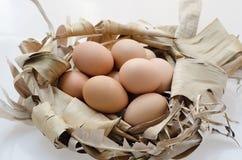 Αυγά και ξηρά φύλλα μπανανών Στοκ Εικόνες