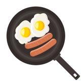 Αυγά και λουκάνικο στο τηγάνι Στοκ Εικόνες