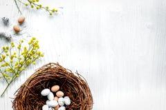 Αυγά και φωλιά για Πάσχα στο άσπρο πρότυπο veiw υποβάθρου τοπ Στοκ Εικόνες