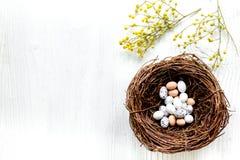 Αυγά και φωλιά για Πάσχα στο άσπρο πρότυπο veiw υποβάθρου τοπ Στοκ Εικόνα