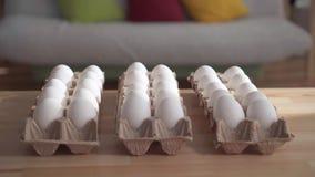 Αυγά κοτόπουλου σε ένα κουτί από χαρτόνι απόθεμα βίντεο