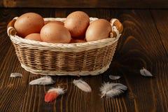 Αυγά κοτόπουλου σε μια φωλιά στον ξύλινο πίνακα στο καφετί υπόβαθρο Στοκ Εικόνες