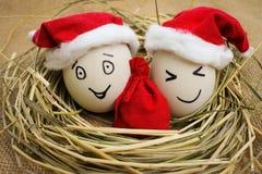 Αυγά με τα πρόσωπα στη φωλιά για τα Χριστούγεννα Στοκ Φωτογραφία