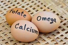 Αυγά με το ασβέστιο λέξης, folate, ωμέγα επάνω για την έννοια τροφίμων Στοκ εικόνα με δικαίωμα ελεύθερης χρήσης