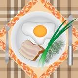 αυγά μπέϊκον που τηγανίζον&ta Στοκ Εικόνες