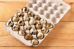 Αυγά νησοπέρδικων σε ένα εμπορευματοκιβώτιο Στοκ Εικόνα
