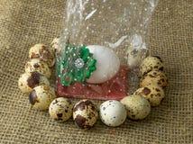 Αυγά ορτυκιών και αυγό κοτόπουλου με ένα πράσινο τόξο γύρω από να βρεθεί σε έναν ξύλινο πίνακα στοκ εικόνα