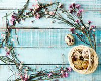 Αυγά ορτυκιών στο backet και το πλαίσιο λουλουδιών στο μπλε ξύλο Στοκ Εικόνες
