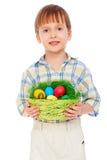 αυγά Πάσχας αγοριών λίγο smiley Στοκ φωτογραφία με δικαίωμα ελεύθερης χρήσης