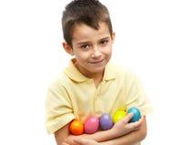 αυγά Πάσχας αγοριών Στοκ Φωτογραφία
