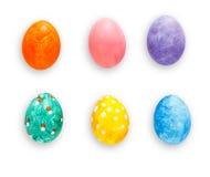 Αυγά Πάσχας καθορισμένα απομονωμένα στο άσπρο υπόβαθρο Στοκ Φωτογραφία